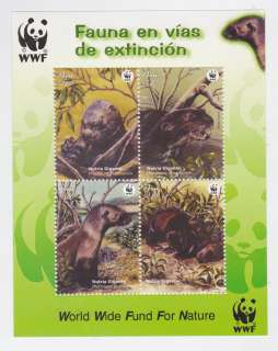 WWF endangered species fauna Giant otter   Peru mnh stamp S/S
