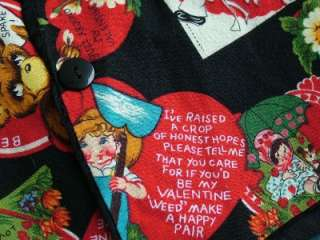 Vtg 80s Retro 50s VALENTINE Greeting Card Tie Back Vest S/M