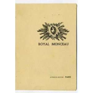 Hotel Royal Monceau Menu Paris France 1950 Everything