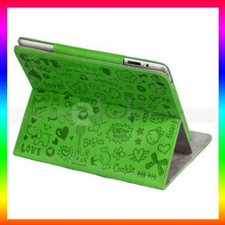 Cute Cartoon Graffiti Magnetic Leather Smart Cover Case with Stand