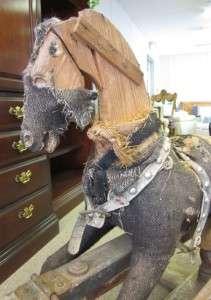 Antique Victorian Burlap Rocking Horse