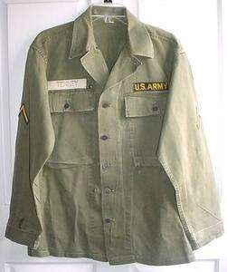 WWII HBT 1944 Pattern US Army Combat Shirt w/ 13 Star Buttons worn in