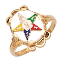 New Ladies Sterling Silver or Gold Plated Masonic Eastern Star Ring