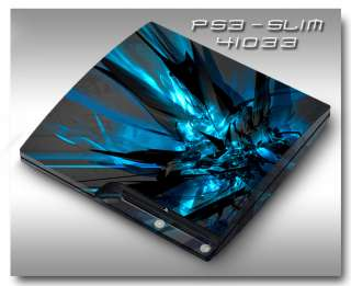 MADE IN USA   Sony PS3 Slim Skin (Graphic Decal) 41033 electric blue