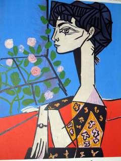 picasso pablo jacoba con flores cartel original de la litografia de la