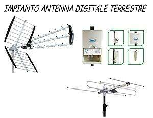 KC078 IMPIANTO ANTENNA TV DIGITALE TERRESTRE VHF + UHF + MISCELATORE