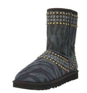 UGG & JIMMY CHOO Kaia Zebra Print Suede Studded Boot Shoe 11 NIB