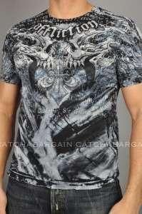 Affliction Tee Shirt BURNING SKULLS Tattoo T Shirt Mens Blue NWT