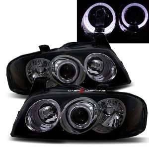 04 06 Nissan Sentra B15 Halo Projector Headlights   Black