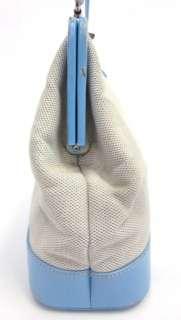 LAMBERTSON TRUEX Blue Leather Woven Satchel Handbag