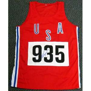 Bruce Jenner Olympics Hand Signed USA 935 Red Track Jersey