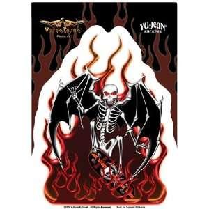 Death Skateboard Skull with Bat Wings   Sticker / Decal Automotive