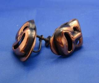 Copper Drama Theater Mask Comedy & Tragedy Earrings marked KIM