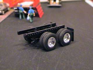DCP LOT OF 2 CHROME WHEELS / AXLES AND 1 DCP VAN TRAILER CHASSIE WITH
