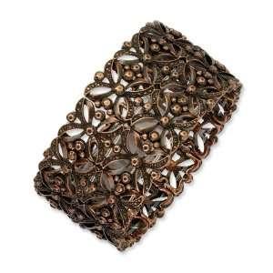 Burnished Copper tone Stretch Bracelet/Mixed Metal