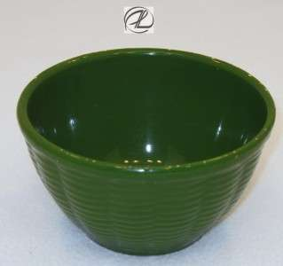 Antique Bowl Green Pottery Vintage Ovenware Bowl Small Basket Weave