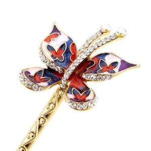 Crystalmood LUX Colorful Enamel Butterfly Swarovski Rhinestone Hair