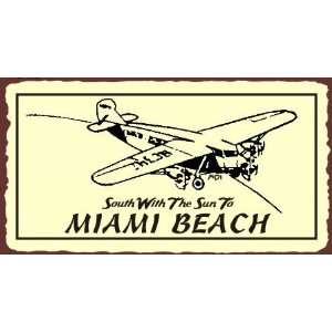 South To Miami Beach Retro Vintage Metal Art Aviation Airplane Retro
