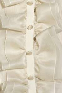 RED VALENTINO Cream Ruffled Silk Organza Tuxedo Blouse Shirt Top 40/4