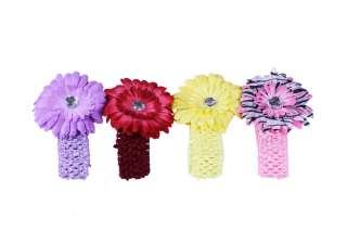 24pc Daisy Flower Clip Crochet Baby Headbands Hair Clips Set