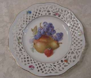 ARZBERG GERMANY PORCELAIN RETICULATED LACE EDGE PEAR + FRUIT PLATE