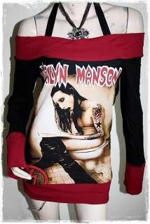 Marilyn Manson Rock DIY Funky Boat Neck Top Shirt