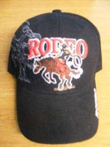 BUCKING BRONCO COWBOY UP RODEO HORSE BLACK CAP HAT