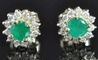 .72 TCW Natural Emerald & Diamond Halo Flower Stud Earrings