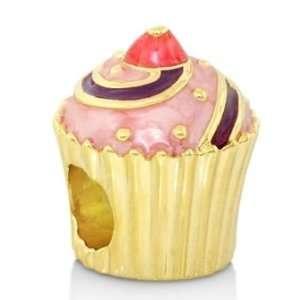 Lauren G Adams Gabriella Beads 18k Gold Plated Pink Enamel Cupcake