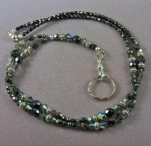 Gray Color Made with Swarovski Austrian Crystals Lanyard Badge Holder