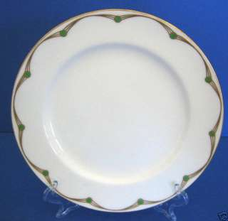 Minton China Patt#7734 Art Deco Gold Green Dots Plate