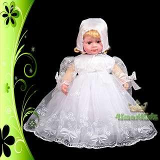 Baby Girl Infant Baptism Christening Dress Gown Bonnet Occasion White