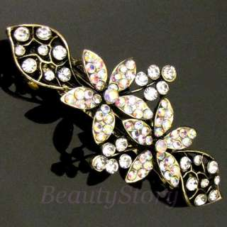 SHIPPING, 1 pc antiqued rhinestone crystal flower hair barrette