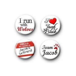Set of 4 Twilight   JACOB BLACK   Pinback Buttons 1.25 Pins / Badges