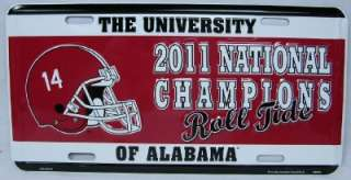 ALABAMA NATIONAL CHAMPIONS CAR TAG ROLL TIDE BCS LICENSE PLATE