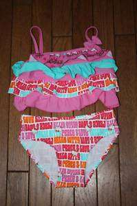 NWT Hello Kitty Pink Ruffle 2pc Bathing Suit Girls 6X