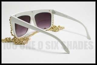 Celebrity Pop Star Fat GOLD CHAIN Sunglasses Flat Top WHITE Oversized