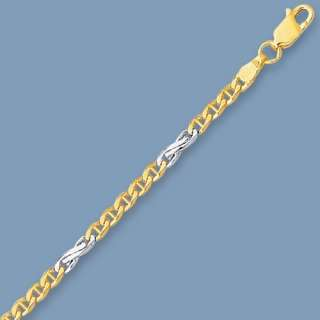 Solid Mariner Chain Necklace 14K Yellow White Gold