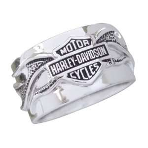 Sterling Silver Harley Davidson Mens Night Flame Ring