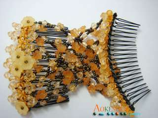 Flower Easy Stretch Double Beads Hair Comb Magic Jewelry Clip J09E