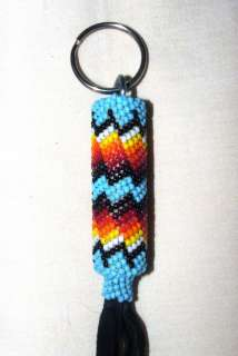 Beaded Keyring Native American Made Peyote Stitch on Black leather 8