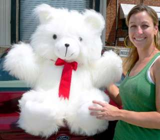 Giant Fuzzy White Teddy Bear 3 Foot Big Plush   Made in the USA