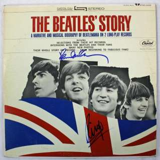 PAUL MCCARTNEY & RINGO STARR THE BEATLES STORY SIGNED ALBUM COVER PSA
