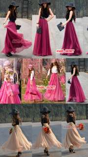 L82 Womens Long Chiffon Skirt Big Circle Thirteen Colors Support