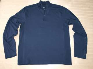 Armani Exchange AX Logo Mesh Zip Neck Pullover Navy NWT
