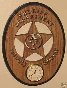 Deputy Sheriff Oval Wall Clock With Texas State Seal