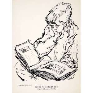 1955 Lithograph Mervin Jules Modern Art Boy Child Reading