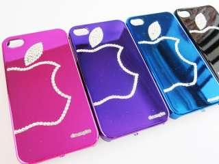 4s Bling Crystal diamond Rhinestone big Apple Mirror Cover Case