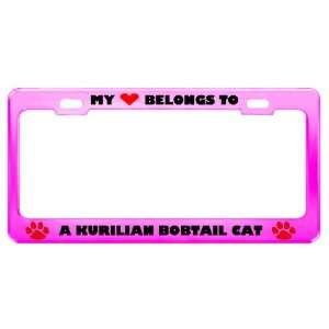A Kurilian Bobtail Cat Pet Pink Metal License Plate Frame