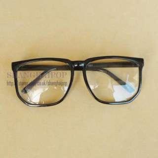 Black Clear Lens Glasses Big Large Frame Wayfarer Party Club Nerd